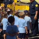 ELC kids by fire truck