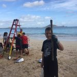 kids help ever install Permanent Beach Clean Up Station