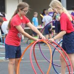 girls with hula hoop at Jump Rope for Heart