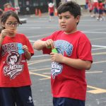 blowing bubbles at Jump Rope for Heart