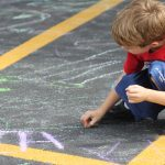 drawing on the pavement with chalk