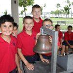 Kids around bell